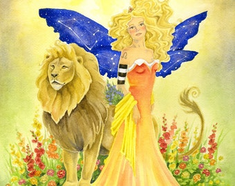 Fairy Art Print - Leo - zodiac sign. astrology. watercolor. fantasy. fire sign. the lion. sunny. positive. yellow.