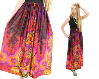 Vintage 70s Maxi Dress Abstract Graphic Dress Multicolor Black Sleeveless Dress Small S XS Womens Spring Fashion NOS Paisley Floral