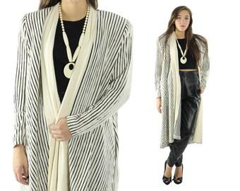 Vintage 80s Knit Cardigan Ivory Striped Jacket Long Coat Trench 1980s Womens Fall Winter Fashion Medium M Shawl Collar Cardigan