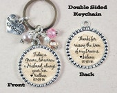 Mother of the Groom Gift, Personalized Keychain, Mother of the Bride, Double Sided, Thank You Gift for Mom
