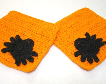 Orange Halloween Spider Dishcloths, Cotton Black Spider Washcloths