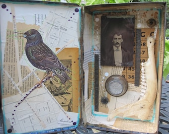 Mixed media assemblage, art, collage, home decor, vintage