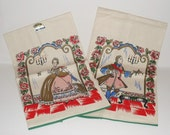 Pair Of Vintage Artmart Linen Kitchen Towels Colonial Couple In Fancy Dress Unused