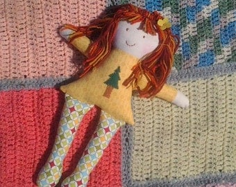 Rag Doll/Natural Cloth Doll/red haired doll with pine tree/nature toys/Fabric Doll/Soft Toy/Eco-friendly Doll