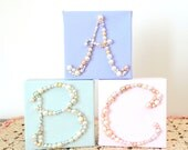 Monogram Letter Wall Hanging - Nursery Initial Letters - Glitter Art - 3d Canvas - Pearl Beaded Mosaic - Personalized Art - Pink, mint green