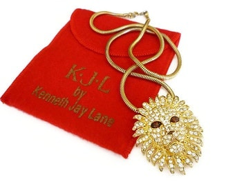 KJL Lion Necklace Brooch Kenneth Jay Lane Rhinestone Snake Chain Designer Vintage Jewelry