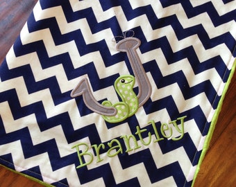 Personalized Baby Blanket-Fishing Blanket- Chevron Blanket- Worm Applique Baby Blanket