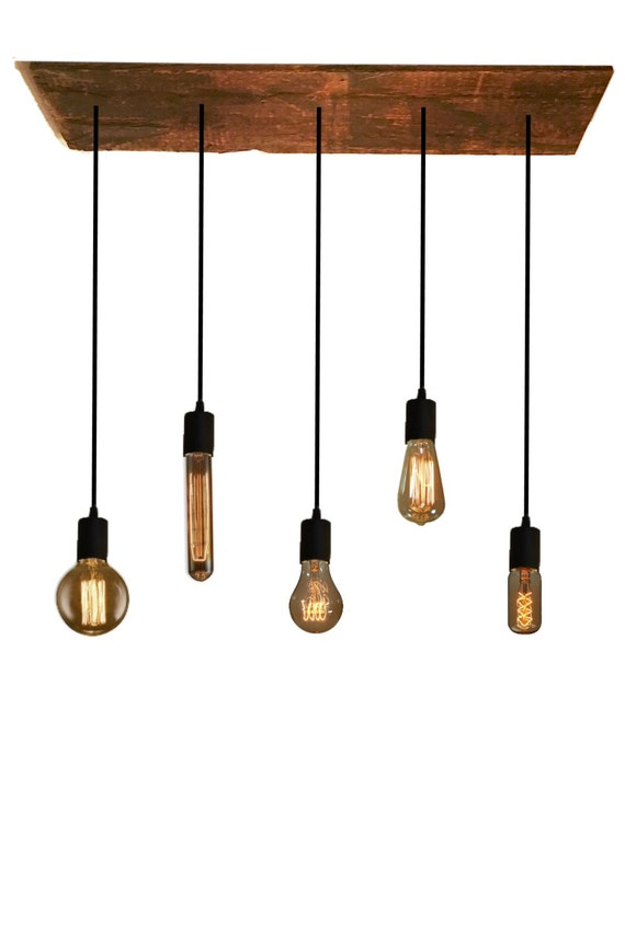 5 Bulb Reclaimed Wood Chandelier Pendant Light Urban