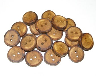 """20 Handmade plum wood Tree Branch Buttons with Bark, accessories (0,9'' diameter x 0,20"""" thick)"""