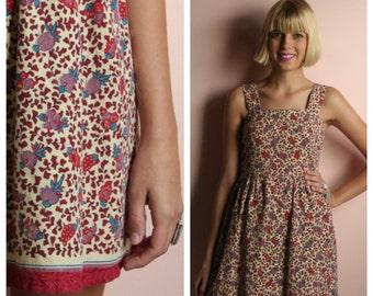 1970's boho Dress /Batik Printed hippie Mini Dress / Easy Cotton Summer Dress / Festival Wear