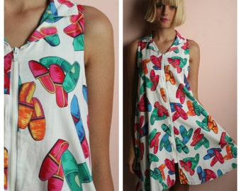 1980's Mini Dress / Cynthia Rowley Dress / Rayon Mini Babydoll Dress / Nineties Grunge Era / Made in the USA / Novelty Shoe Print