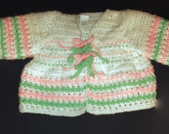 Baby Sweater Jacket Size 6 Months  Crochet Baby Girl Sweater White Pink Mint Green