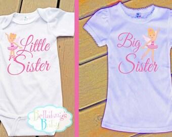 Ballerina Fairy Big Sister Little Sister Outfit - Bodysuit or Tshirt - Photo prop - Newborn