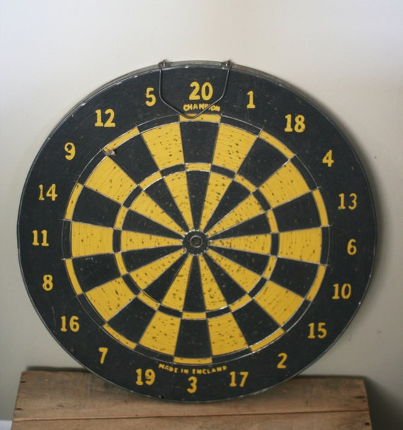 Vintage Dart Board With Metal Frame Made In England By
