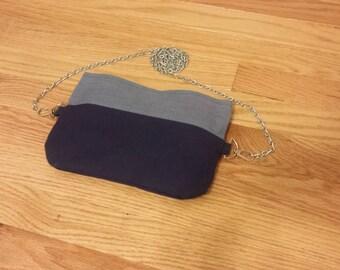 Two-Tone Periwinkle Blue and Navy Blue Crossbody Handbag