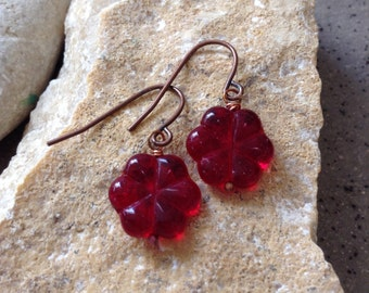 SALE!!! 50% OFF -Crimson Czech Glass Blooms Antique Copper Earrings