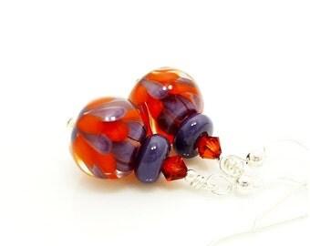 Orange and Purple Earrings, Lampwork Earrings, Glass Earrings, Glass Bead Earrings, Beadwork Earrings, Unique Earrings, Lotus Flower