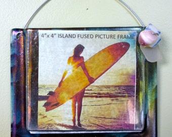 SALE Ocean Swirl Frame Shelly Batha Island Fused Glass Big Island of Hawaii