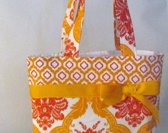 Orange Flowered Girls Purse ~ Small Tote Bag ~Small Purse ~ Shoulder Bag ~ Toddler Purse ~ Little Girls Purse ~ Carry ALL!