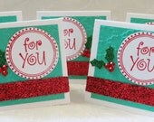 Mini Christmas GIft Tag Cards Green with Holly Berries and Leaves 18
