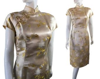 Vintage 1960s Satin Cheongsam Dress by Madame Koo Platinum and Gold Flowers