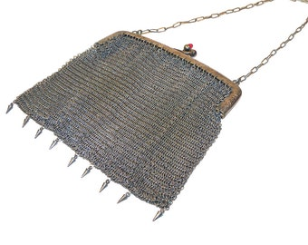 Antique German Silver Metal Mesh Engraved Frame Purse with Chain & Metal Fringe