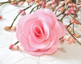 "Savannah Collection: 3 pcs PINK - 2"" Fabric Textured Rose Bud Burlap Linen Flowers. Hair Accessories, Fascinator or Hat  Appliques"