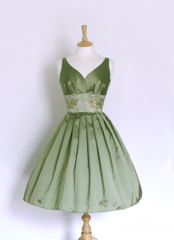 Sage Green Silk Taffeta Prom Dress with Brocade Waistband - Made by Dig For Victory