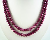 Long Pearl Necklace Long Freshwater Pearl Necklace Long Magenta Pearl Necklace Long Magenta Pearl Strand Freshwater Pearl Necklace Long