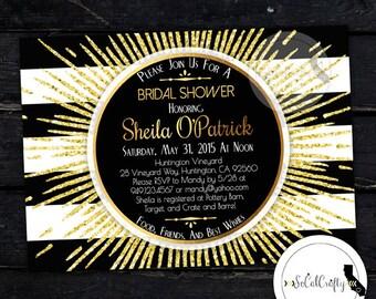 Great Gatsby Bridal Shower Invitation, Printable Invitation, Roaring 20's, Birthday Party, Gold Glitter, Digital or Printed Invitation