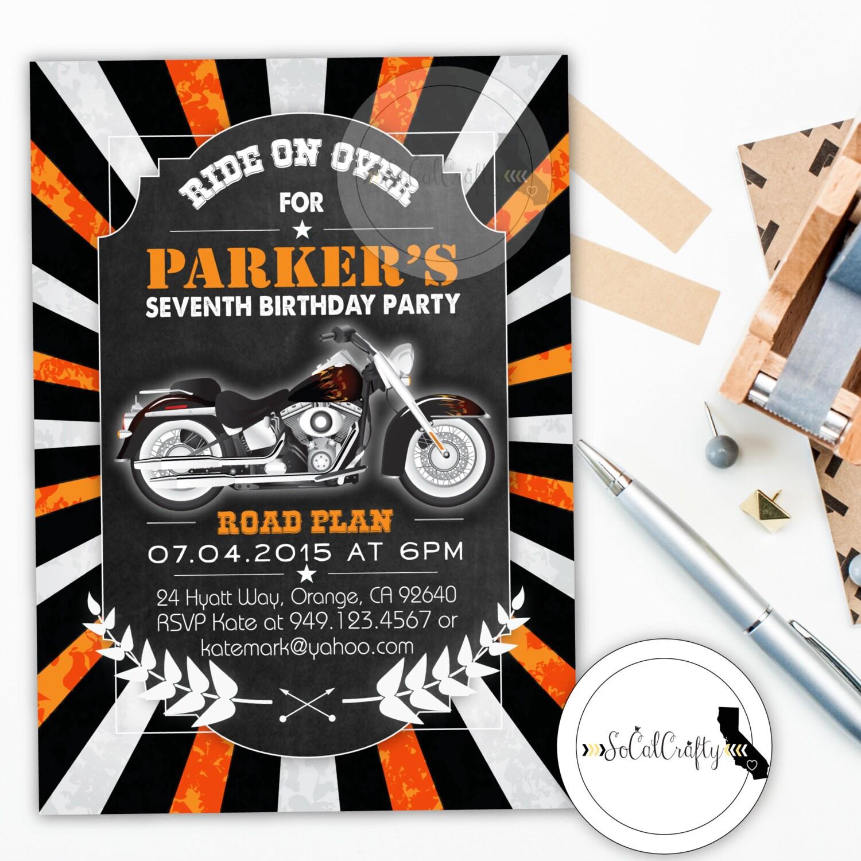 Harley Davidson Birthday Party Invitation Chalkboard