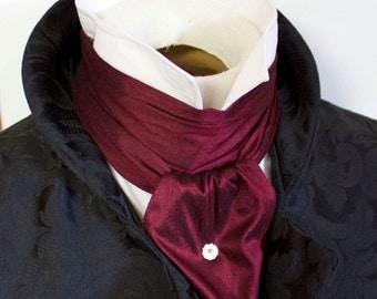 REGENCY Brummel Victorian Ascot Tie Cravat - Maroon Wine Dupioni Silk