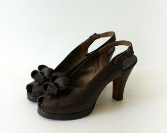 Vintage 1940s High Heels - 40s Brown Leather Platform High Heels - Bow Tied