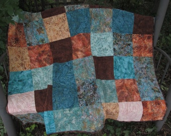 Lap Quilt Brown and Blue, Traditional Patchwork Quilt, Hoffman Batiks Throw Quilt, Blanket, Comforter