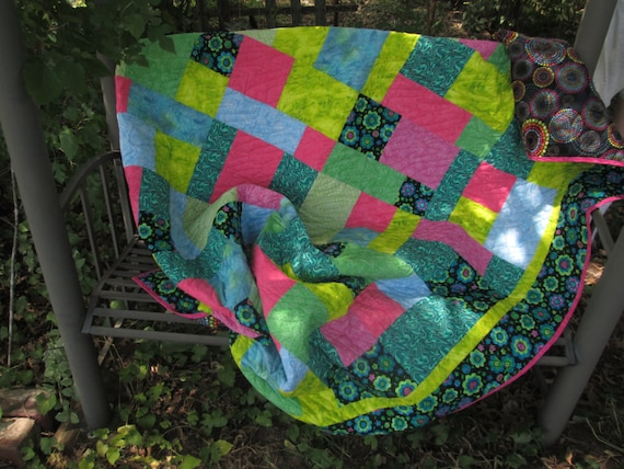 Twin Size Quilt Lime Pink Blue Black, Quilted Comforter, Blanket, Bright, Colorful Quilt, Traditional Handmade Quilt, Patchwork Quilt
