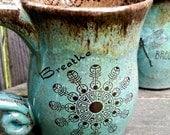 MADE TO ORDER Crop Circle Coffee Mug wheel thrown mug Reiki energy - pink brown Sacred Geometry Gift Blue Brown Rustic Crop Circle Clay