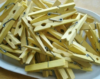 Hand Dyed Clothespins Yellow set of 10
