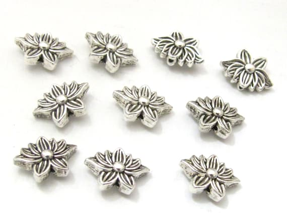 10 Beads - Antiqued silver tone small Lotus flower shape metal beads 8 mm x 12 mm  - BD787