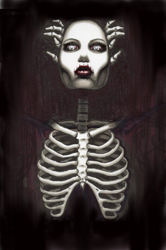 Sinister Skeleton Pin Up stretched canvas print