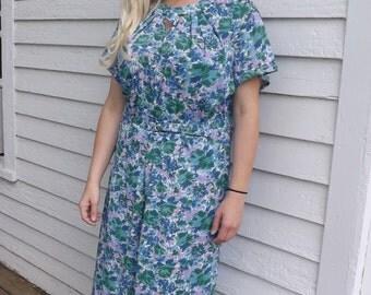 Nylon Print Dress 60s 1960S White Blue Pink Green Plus XL XXL Vintage 52 Bust