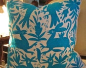 Truly TURQUOISE Hand Embroidered Otomi Pillow Cover 20 x 20 FAB!