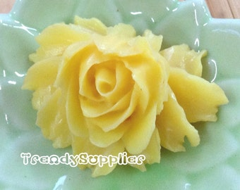 3 Pcs Yellow Big Rose Cabochon (028)