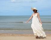 Punch.....White Cotton Maxi Dress
