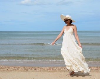 Punch.....White Cotton Maxi Dress