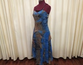 Vintage 90s Does 20s Blue and Brown Halter Top Formal Cocktail Party Prom Frilly Dress