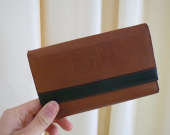 Vintage 60s 70s Camel production by Rolan Tan Brown and Dark Green Genuine Leather Wallet