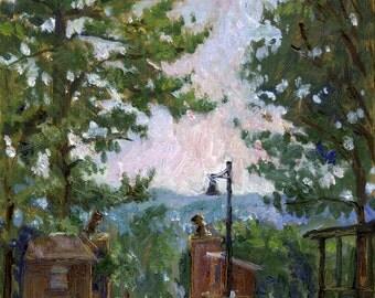 Lion's Gate, Summer Light Tanglewood. Original Realist Oil Painting, 8x10 Berkshires Impressionist Landscape, Signed Original Fine Art
