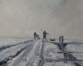 Snow Landscape - Original Snow Painting - Dutch Landscape Painting - Nancy Van den Boom Painting - Winter Painting - 24 x 30 cm - 9x12inches