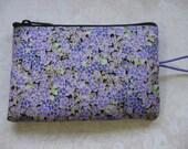 purple flower print padded makeup jewelry bag