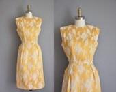 vintage 1950s dress / gold satin Carol Craig dress / 50s dress